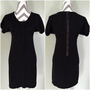 ANN TAYLOR Black Wool Scoop Neck Sweater Dress